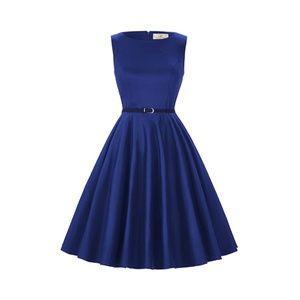 Dresses & Skirts - Blue Boatneck Vintage Tea Belted Dress
